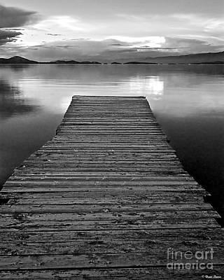 Flathead Lake Dock Sunset - Black And White Print by Brian Stamm