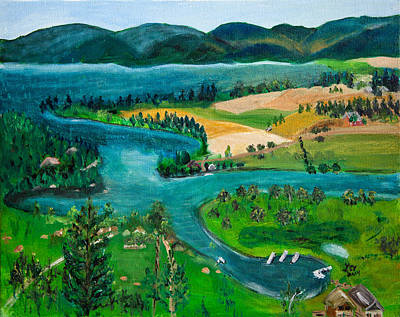 Painting - View Of Flathead River And Lake by Lucille  Valentino