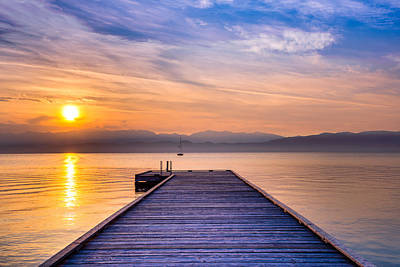 Lakeside Photograph - Flathead Lake Sunrise by Adam Mateo Fierro