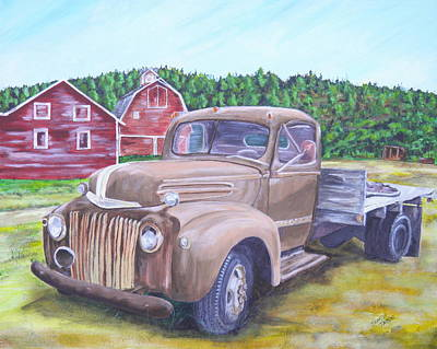 Painting - Flathead Monster Truck by Sharon Tabor