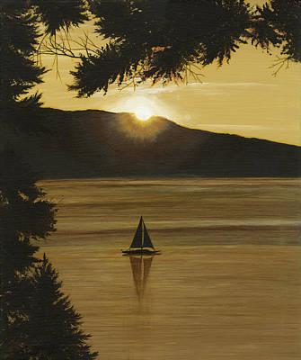 Painting - Flathead Sunset by John Wyckoff