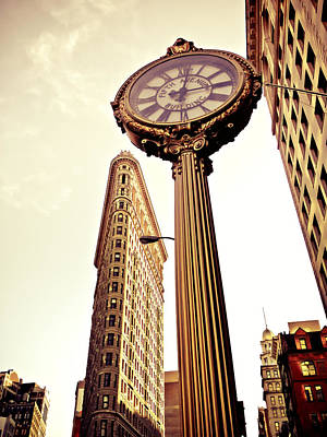 Antique Clock Photograph - Flatiron Building And 5th Avenue Clock by Vivienne Gucwa