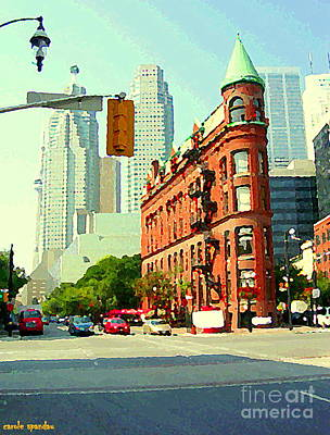 Painting - Flatiron Building And Skyline Historic Toronto Landmarks Canadian Paintings Cityscenes C Spandau by Carole Spandau