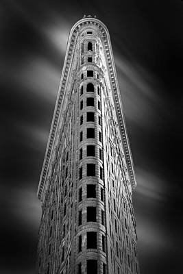 Black White Photograph - Flatiron Nights by Az Jackson