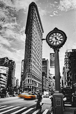 Clocks Photograph - Flatiron Rush by Andrew Paranavitana