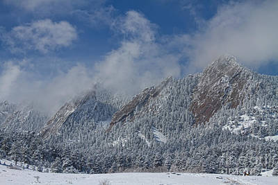 Photograph - Flatiron Snow Dusting Boulder Colorado by James BO Insogna