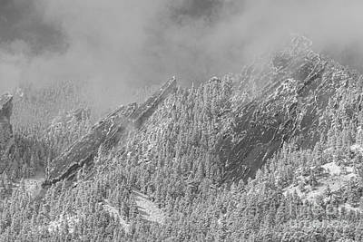 Photograph - Flatiron Snow Dusting Close Up Boulder Colorado Bw by James BO Insogna