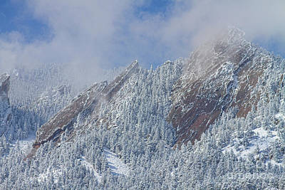 Photograph - Flatiron Snow Dusting Close Up Boulder Colorado by James BO Insogna