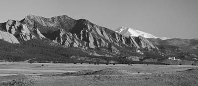 Photograph - Flatirons And Snow Covered Longs Peak Panorama Bw by James BO Insogna