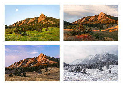 Photograph - Flatirons Four Seasons With Border by Aaron Spong