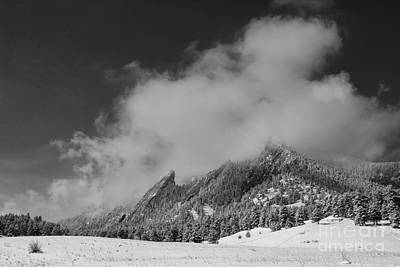 Photograph - Flatirons In The Clouds Boulder Colorado Bw by James BO Insogna
