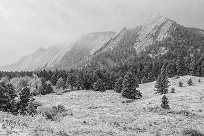 Photograph - Flatirons In Winter - Black And White by Aaron Spong