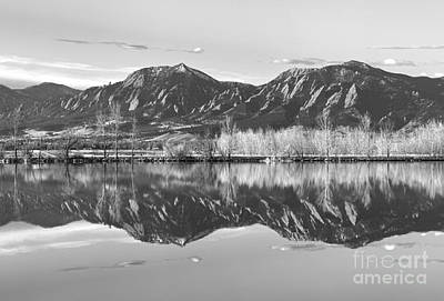 Photograph - Flatirons Reflections Light  Boulder Colorado Black And White Panorama by James BO Insogna