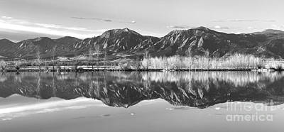 Photograph - Flatirons Morning Reflections Panorama Boulder Colorado In Bw by James BO Insogna