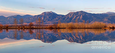 Photograph - Flatirons Sunrise Reflections Panorama Boulder Colorado by James BO Insogna