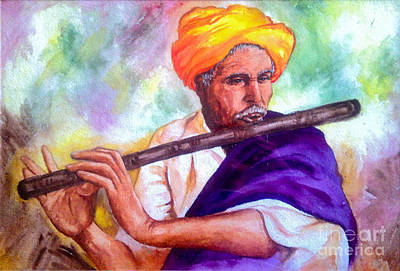Indian Musical Instrument Painting - Flautist by Nanda Devi