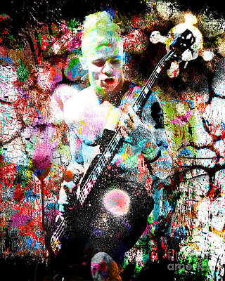 Pepper Painting - Flea - Red Hot Chili Peppers - Original Painting Print by Ryan Rock Artist