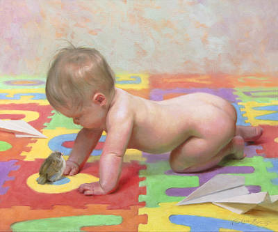 Cherub Wall Art - Painting - Fledglings by Anna Rose Bain
