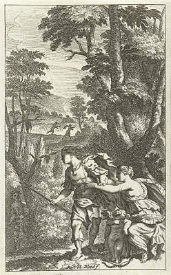 Stop Sign Drawing - Fleeing Shepherd, Print Maker Abraham Bloteling by Abraham Bloteling And Zacharias Webber Ii And Pierre Marteau