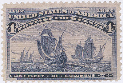 Photograph - Fleet Of Columbus, U.s. Postage Stamp by Science Source