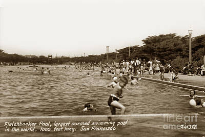 Photograph - Fleishhacker Pool The Largest Swimming Pool San Francisco In The World  1940 by California Views Archives Mr Pat Hathaway Archives