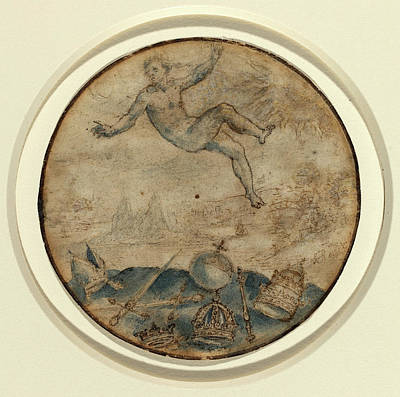 Incised Drawing - Flemish 17th Century, Man Falling From The Sky by Quint Lox