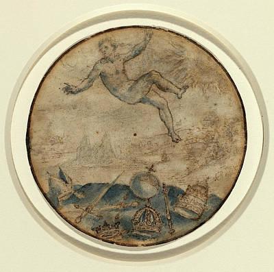 Flemish 17th Century, Man Falling From The Sky Art Print