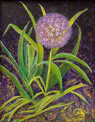 Painting - Fleur D Allium With Iris Leaves Backup by Margaret Bobb