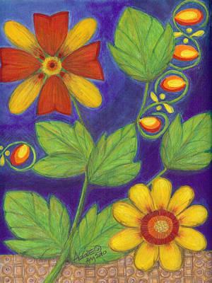 Daisy Drawing - Fleur De Ava- Flowers Of Ava by Agnes  Arceo