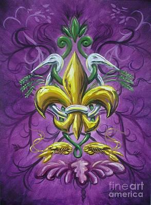 Mardi Gras Painting - Fleur De Lis 4 by Theon Guillory