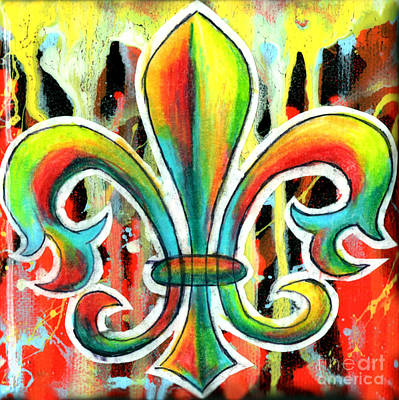 Irises Drawing - Fleur De Lis In Flames by Genevieve Esson