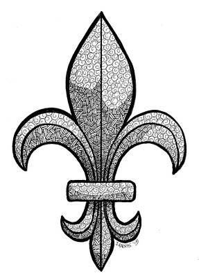 Fleur De Lis Drawing - Fleur De Lis by Jim Harris