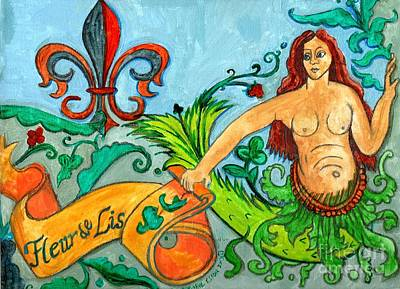 Medieval Style Painting - Fleur De Lis Mermaid by Genevieve Esson