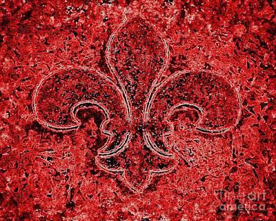 Fleur De Lis Red Ice Art Print by Janine Riley