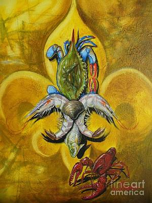 Crawfish Painting - Fleur De Lis by Theon Guillory