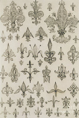 Lilies Drawing - Fleur De Lys Designs From Every Age And From All Around The World by Jean Francois Albanis de Beaumont
