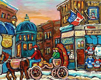 Rue Notre Dame Painting - Fleur De Lys Hockey Sweaters Montreal Paintings Cremerie Old Port Bonsecours Market Carole Spandau by Carole Spandau