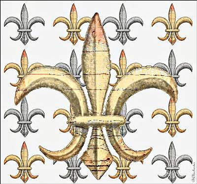 Fleur De Lys Silver And Gold Art Print