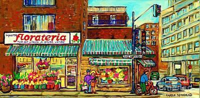 Le Plateau Painting - Fleuriste Florateria Flower Shop Paintings Montreal Art St Urbain Colorful Shops Carole Spandau by Carole Spandau