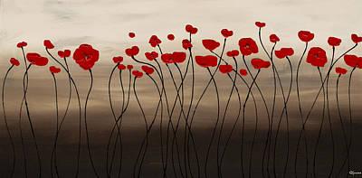 Painting - Fleurs En Rouge by Carmen Guedez