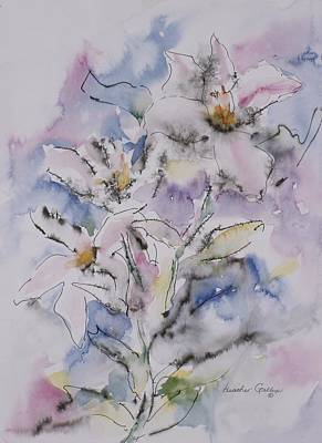 Wet On Wet Mixed Media - Fleurs by Heather Gallup
