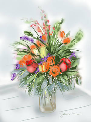 Art Print featuring the painting Fleurs Pour Moi by Jean Pacheco Ravinski