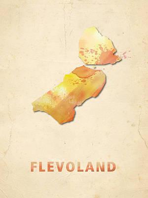 Flevoland Digital Art - Flevoland Watercolour Map by Big City Artwork