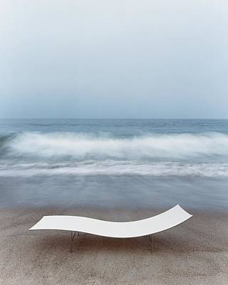 Los Angeles County Photograph - Flexy Batyline Mesh Curve Chaise On Malibu Beach by Simon Watson