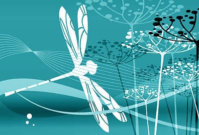 Digital Art - Flgiht Pattern Cyan by Angelina Tamez