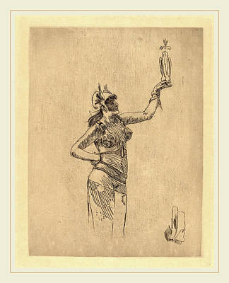 1833 Drawing - Félicien Rops Belgian, 1833-1898, The Falconer La by Litz Collection