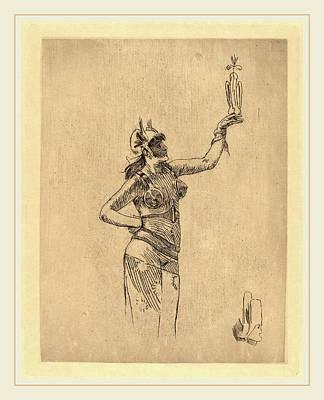 Félicien Rops Belgian, 1833-1898, The Falconer La Art Print