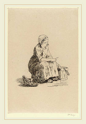 1833 Drawing - Félicien Rops Belgian, 1833-1898, The Little Potato Peeler by Litz Collection
