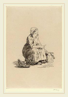 Potato Drawing - Félicien Rops Belgian, 1833-1898, The Little Potato Peeler by Litz Collection