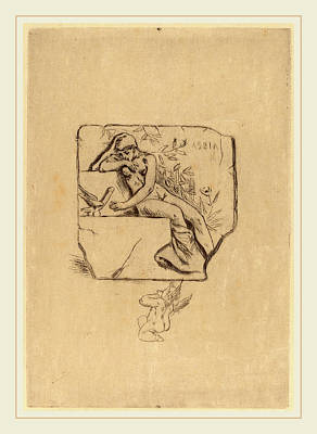 Félicien Rops Belgian, 1833-1898, The Sparrow Of Lesbie Le Art Print by Litz Collection